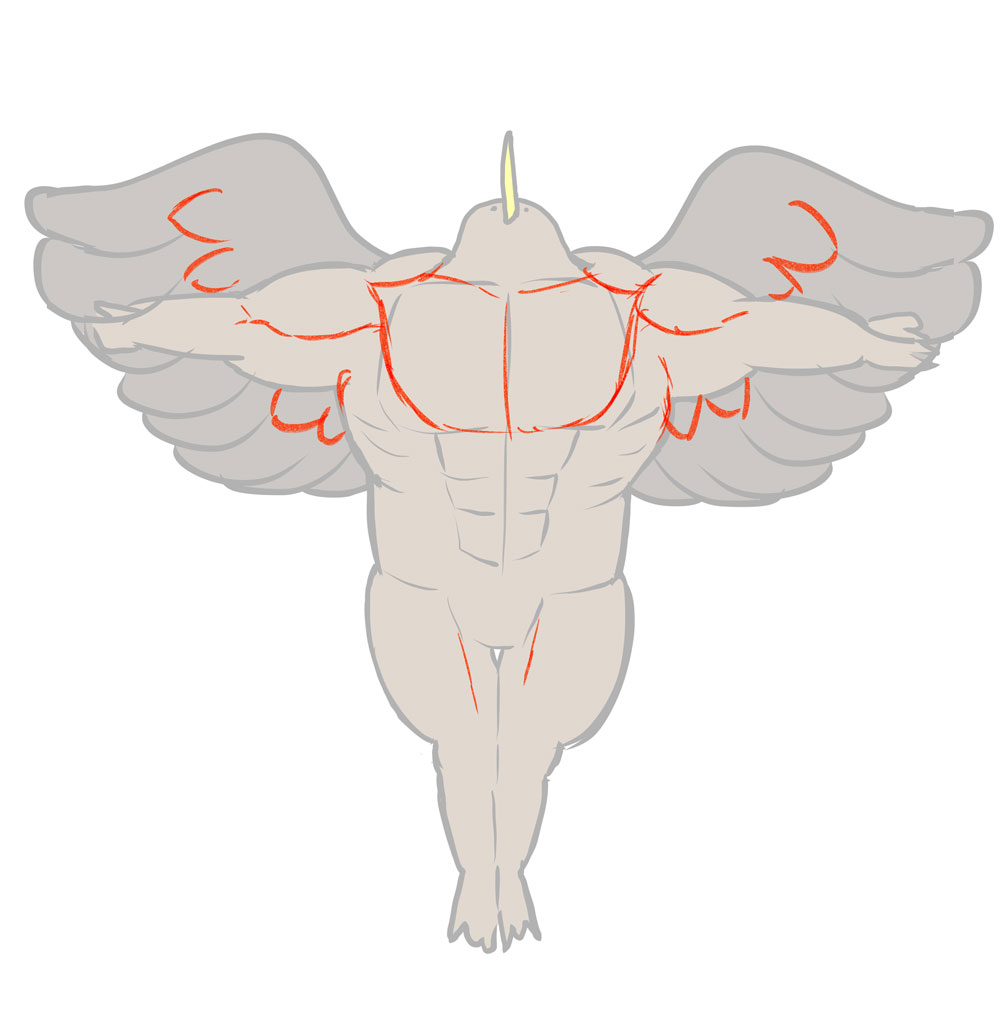 筋肉と羽の添削後